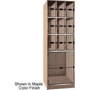 "Ironwood 9 Upper, 1 Lower Compartment Black Grill Door 30""D Locker, Maple"