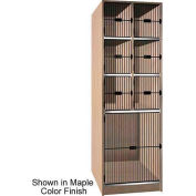 Ironwood 6 Upper, 1 Lower Compartment Black Grill Door Locker, Natural Oak