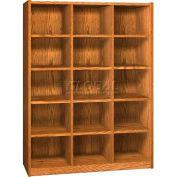 Wood Cubicle Cabinet, 15 Openings, Open Front, 52 x 17-5/8 x 68-3/8, Dixie Oak