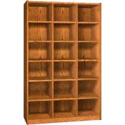 Wood Cubicle Cabinet, 18 Openings, Open Front, 52 x 17-5/8 x 81-1/2, Dixie Oak