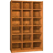 Wood Cubicle Cabinet, 18 Openings, Open Front, 52 x 17-5/8 x 81-1/2, Folkstone Grey