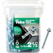 """ITW Teks Self-Drilling Screw - #14 x 2-1/2"""" - Hex Head - Pkg of 120 - 21358"""