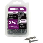 """#9 x 2-1/4"""" Rock-On Cement Board Screw - Flat Serrated Head - Star Drive - 100 Pk - ITW 23321"""