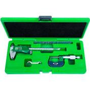 InSize 3 Piece Measuring Tool Set-Elec. Caliper, Micrometer & Steel Rule, 5003-1E
