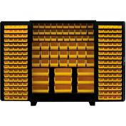 Jamco Bin Cabinet DE236-BL - 14 ga. All Welded, Flush Doors w/136 Bins, 36 x 24 x 78 Black