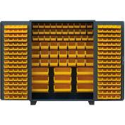 Jamco Bin Cabinet DE236-GP - 14 ga. All Welded, Flush Doors w/136 Bins, 36 x 24 x 78 Gray
