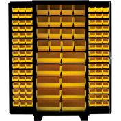 Jamco Bin Cabinet DF236-BL - 14 ga. All Welded, Flush Doors w/122 Bins, 36 x 24 x 78 Black
