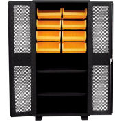 Jamco Bin Cabinet DH260-BL - 12 Bins, 14 ga. Welded Expanded Mesh Door 2 Shelves, 60x24x78 Black