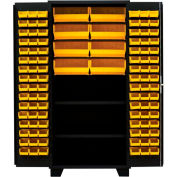 "Jamco Bin Cabinet DN260-BL - 14 ga. All Welded 2 Shelves 172 Bins 60""W x 24""D x 78""H Black"