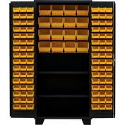 "Jamco Bin Cabinet DT248-BL - 14 ga. All Welded 2 Shelves, 148 Bins, 48"" x 24"" x 78"", Black"