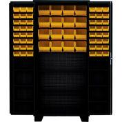 "Jamco Bin Cabinet DU248-BL-14 ga. 4"" Deep Pocket Door 2 Shelves 84 Bins, 48""W x 24""D x 78""H,Black"