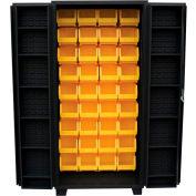 """Jamco Bin Cabinet DV248-BL - 14 ga. 4"""" Deep Pocket Door 45 Bins, 48""""W x 24""""D x 78""""H, Black"""