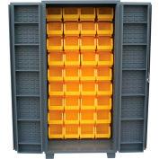 """Jamco Bin Cabinet DV248-GP - 14 ga. 4"""" Deep Pocket Door 45 Bins, 48""""W x 24""""D x 78""""H, Gray"""
