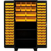 "Jamco Bin Cabinet DX236-BL - 14 ga. All Welded 2 Shelves 108 Bins 36""W x 24""D x 78""H Black"