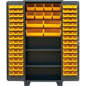"Jamco Bin Cabinet DX248-GP - 14 ga. All Welded 2 Shelves 144 Bins 48""W x 24""D x 78""H Gray"