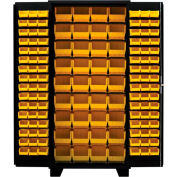 Jamco Bin Cabinet DZ260-BL - 14 ga. All Welded, Flush Doors w/214 Bins, 60 x 24 x 78 Black