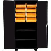 Jamco Bin Cabinet HH236-BL - 14 ga. All Welded 2 Shelves , 8 Bins, 36x24x78, Black