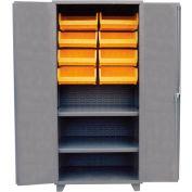 Jamco Bin Cabinet HH248-GP - 14 ga. All Welded 2 Shelves 12 Bins 48 x 24 x 78 Gray