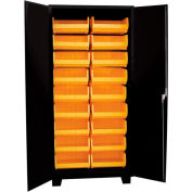 "Jamco Bin Cabinet HK236-BL - 14 ga. Flush Doors w/18 Bins, 36""W x 24""D x 78""H, Black"