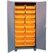 """Jamco Bin Cabinet HK236-GP - 14 ga. Flush Doors w/18 Bins, 36""""W x 24""""D x 78""""H, Gray"""