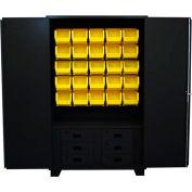 "Jamco Bin Cabinet HN248-BL - 14 ga. All Welded w/6 Drawers, 20 Bins 48"" x 24"" x 78"" Black"