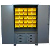 "Jamco Bin Cabinet HN260-GP - 14 ga. w/9 Drawers , 24 Bins, 60""W x 24""D x 78""H, Gray"