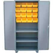 "Jamco Bin Cabinet HY248-GP - 14 ga. All Welded 2 Shelves, 20 Bins, 48""W x 24""D x 78""H Gray"