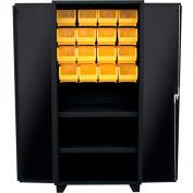 "Jamco Bin Cabinet HY260-BL -14 ga. All Welded 2 Shelves, 24 Bins, 60""W x 24""D x 78""H Black"
