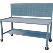 Mobile Steel Workbench w/ Pegboard - 36 x 60