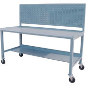 Mobile Steel Workbench w/ Louvered Panel - 36 x 60