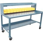 Mobile Steel Workbench w/ 1/2 Shelf, Powerstrip and Bins - 30 x 72