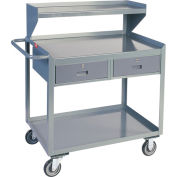 Two Drawer Mobile Service Bench with Riser - 30 x 36