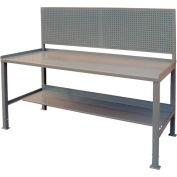 12 Gauge Steel Square Edge Workbench w/ Pegboard - 30 x 60