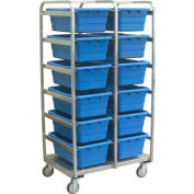 "Jamco Stainless Steel 12 Tote Cart YQ236-U5-AS-NB - 26""L x 36""W x 72""H, Casters Steel Rigs, No Totes"