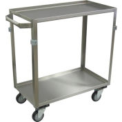 "Jamco Stainless Steel Cart ZE130 2 Shelf 30x16 4"" Casters Stainless Rigs"