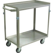 "Jamco Stainless Steel Cart ZF124 2 Shelf 24x16 4"" Casters Stainless Rigs"