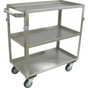 "Jamco Stainless Steel Cart ZH124 3 Shelf 24x16 4"" Casters Steel Rigs"
