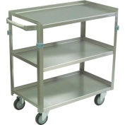 "Jamco Stainless Steel Cart ZJ124 3 Shelf 24x16 4"" Casters Stainless Rigs"
