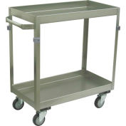 "Jamco Stainless Steel Cart ZM236 2 Shelf 36x22 4"" Casters Stainless Rigs"