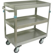 "Jamco Stainless Steel Cart ZN124 3 Shelf 24x16 4"" Casters Steel Rigs"