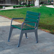Jayhawk Plastics Recycled Plastic Plaza Patio Chair Silver Frame with Green Slats
