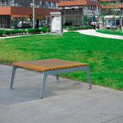 Jayhawk Plastics Recycled Plastic Plaza Outdoor Table - Silver Frame with Cedar Slats