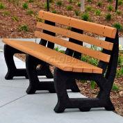 Frog Furnishings Recycled Plastic 6 ft. Brooklyn Bench, Cedar Bench/Black Frame