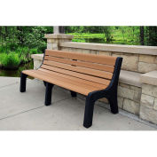 Jayhawk Recycled Plastic 6 ft. Bench with Back - Newport Series - Cedar