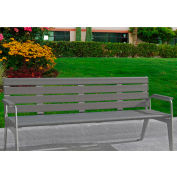 Jayhawk Plastics Recycled Plastic 6 ft. Plaza Bench - Silver Frame with Gray Slats