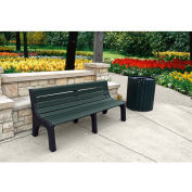 Jayhawk Recycled Plastic 6 ft. Bench with Back - Newport Series - Green