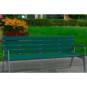 Jayhawk Plastics Recycled Plastic 6 ft. Plaza Bench - Silver Frame with Green Slats