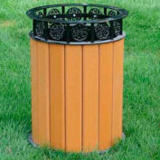 Jamestown Receptacle, Recycled Plastic, 12 Gal., Cedar