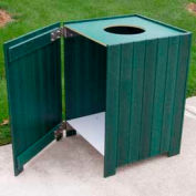 Standard Square Receptacle, Recycled Plastic, 20 Gal., Green
