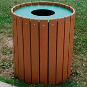 Standard Round Receptacle, Recycled Plastic, 32 Gal., Cedar